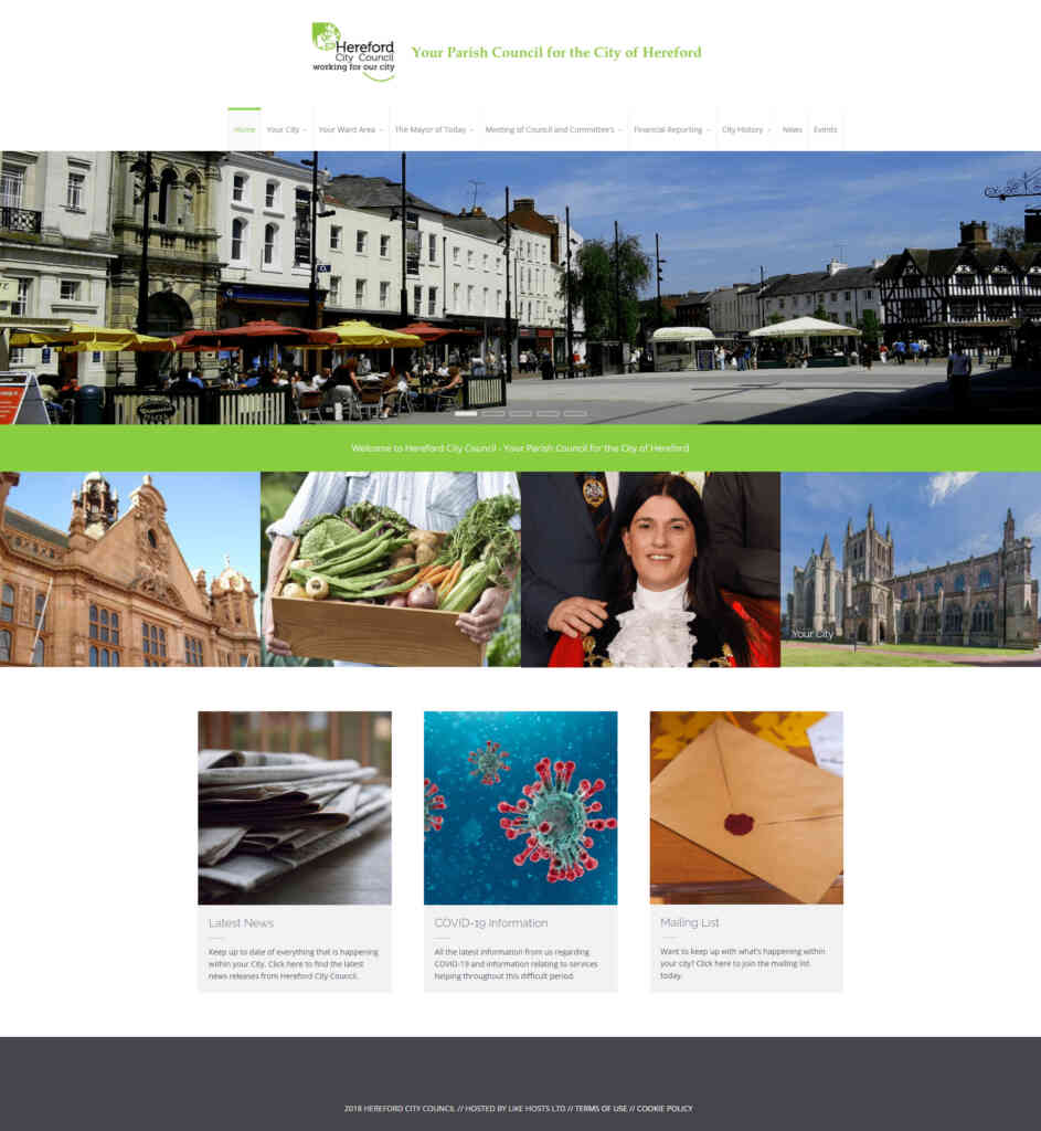 Original Hereford City Council website home page