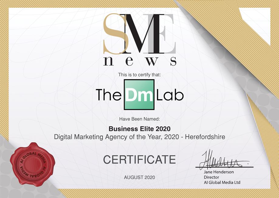 SME News Business Elite 2020 Certificate
